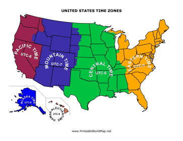 Blank Time Zone Map United States