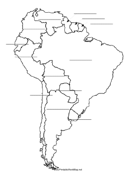 This Printable Map Of South America Has Blank Lines On Which - Fill in the blank world map worksheet