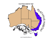 Platypus Habitat map for Kids